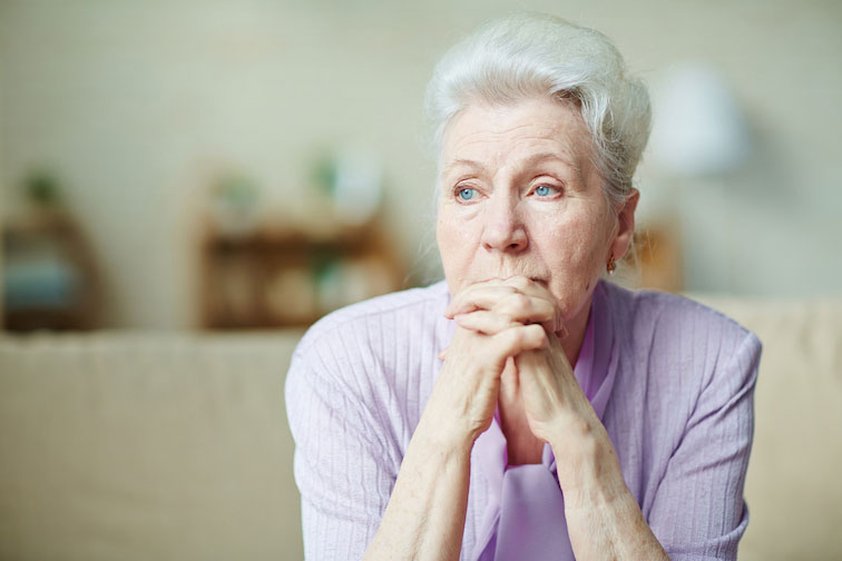 elderly woman in social isolation